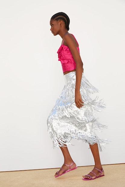 Fringe Sequin Skirt