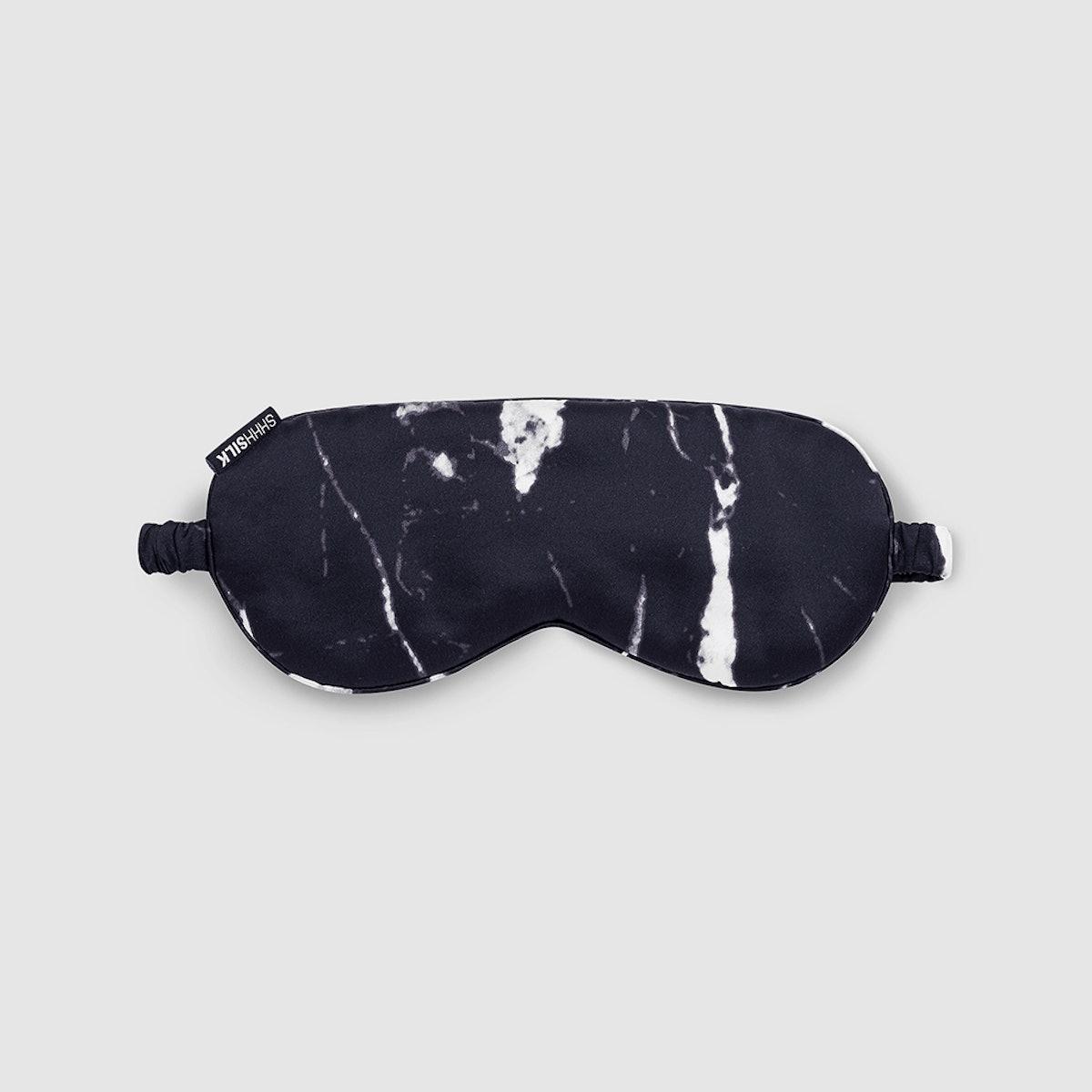 Black Marble Silk Eye Mask