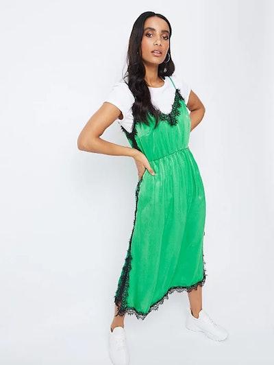 Green Satin Lace Eyelash Trim Slip Dress