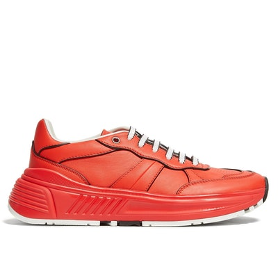 Exaggerated-Sole Leather Low-Top Trainers