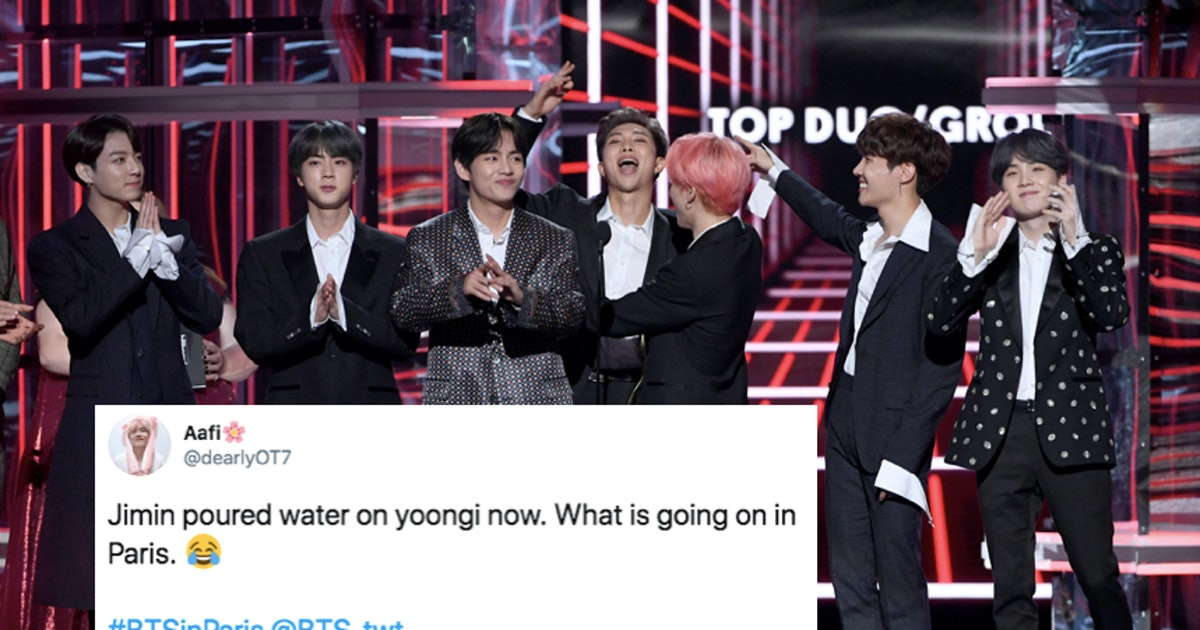 The Videos Of BTS' Water Bottle Fights In Paris Have ARMYs Laughing At The Pranks