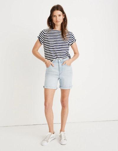 High-Rise Mid-Length Denim Shorts in Adeline Wash