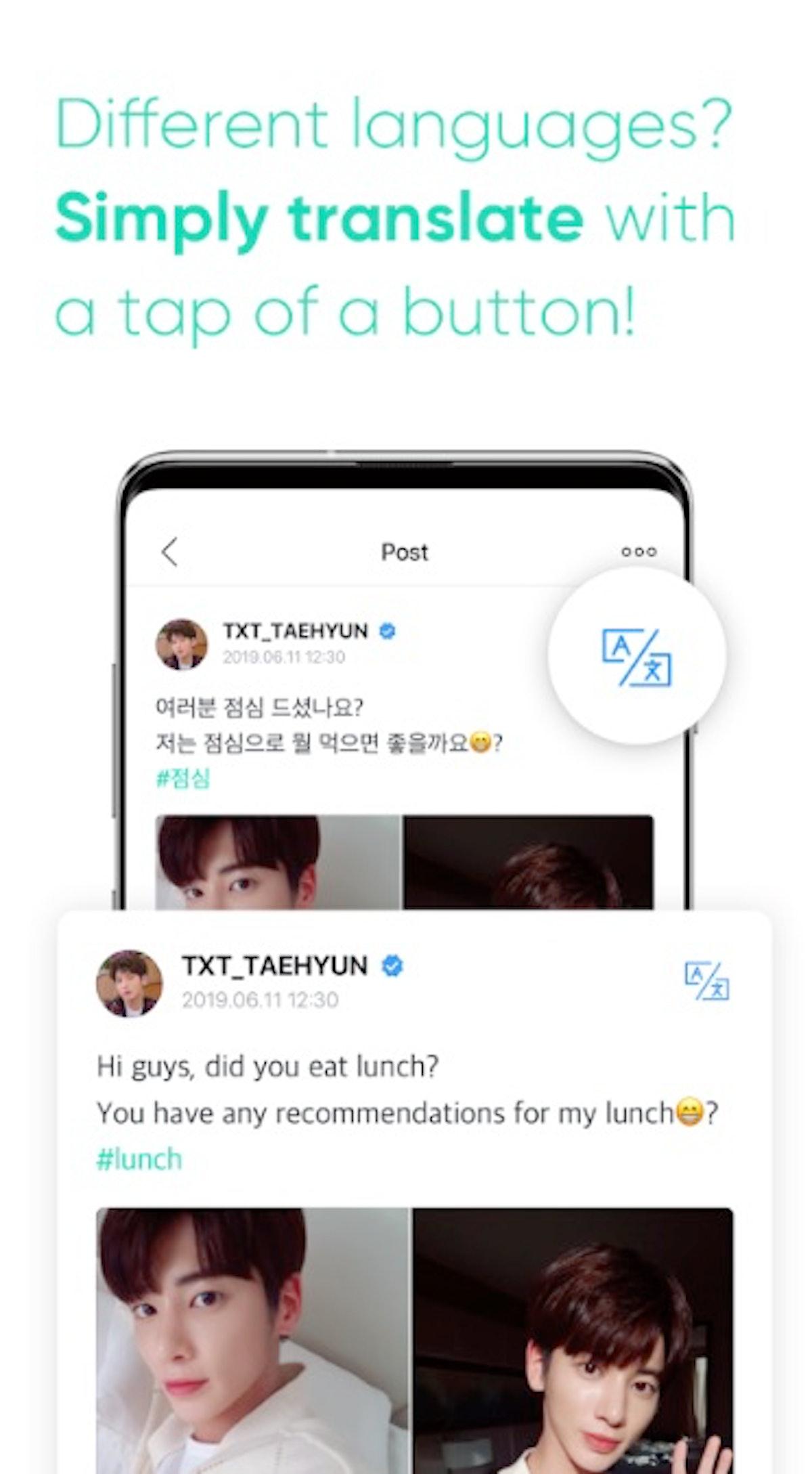BigHit's Weverse app's translation feature