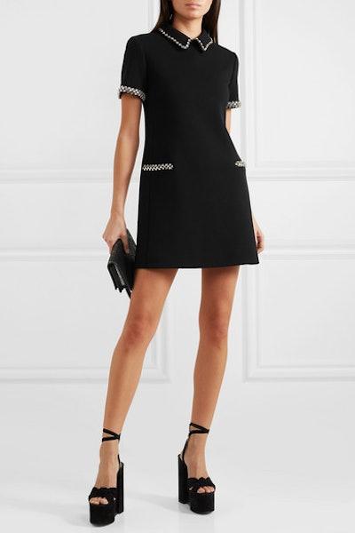 Crystal-Embellished Wool-Cady Mini Dress