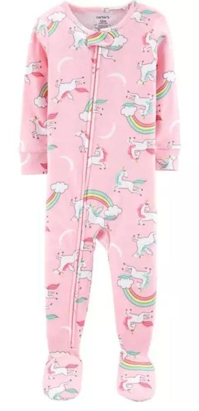 1-Piece Unicorn Footed Snug Fit Cotton PJs