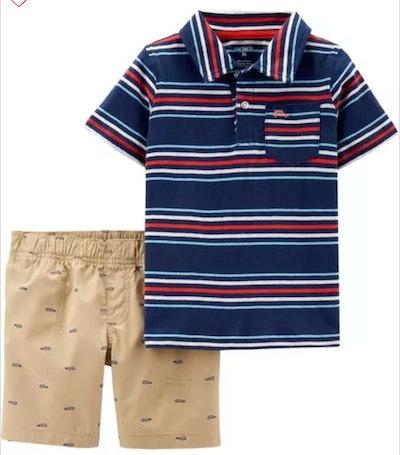 2-Piece Striped Jersey Polo & Schiffli Short Set