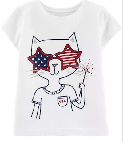 4th Of July Kitty Jersey Tee