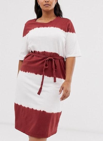 Tie-Front tie-dye midi dress