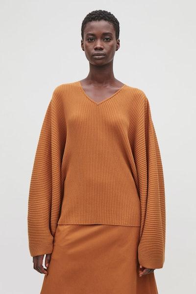 Cape-Style Cotton-Knit Top