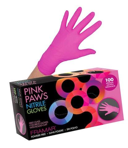 Framar Pink Paws Nitrile, Powder-Free Disposable Gloves
