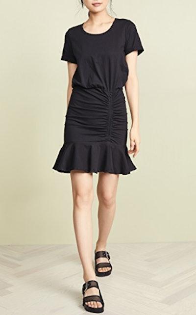 Pima Ruched Dress w/ Flounce