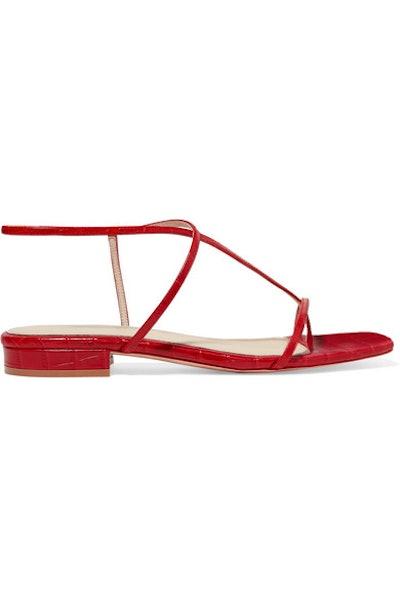1.2 Croc-Effect Leather Sandals