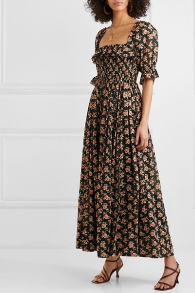 Sol Shirred Floral-Print Cotton-Voile Maxi Dress