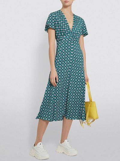 Printed Flowing Midi Dress