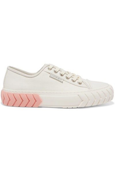 Tyres Leather-Trimmed Coated-Canvas Sneakers