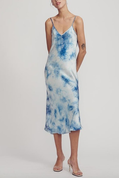 90s Silk Slip Dress Chinese Tie-Dye