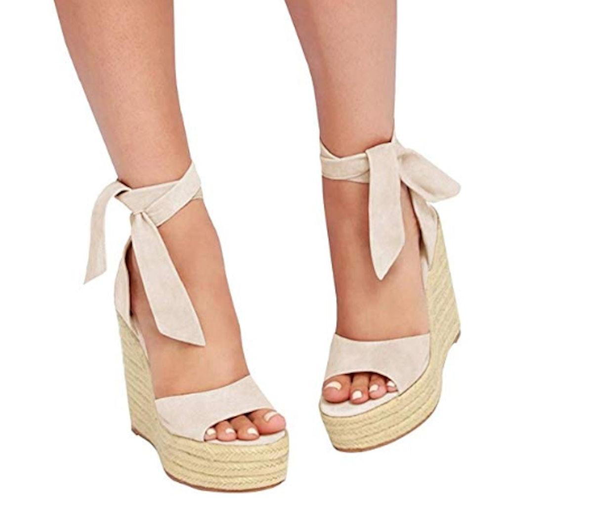 Seraih Lace-up Platform Wedges Sandals