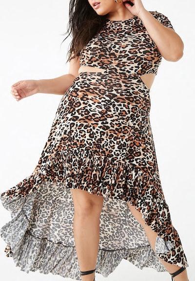 Leopard Print Cutout High-Low Dress
