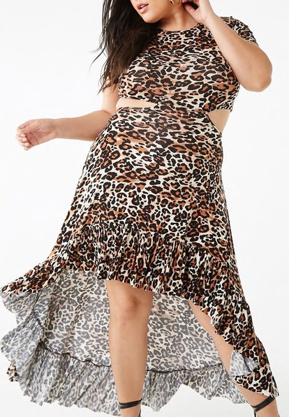 Leopard Print Cutout High-Low Dress