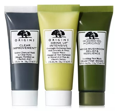 Origins Clear Improvement Charcoal, Drink Up Hydrating & Mega-Mushroom Mask (Set of 3)
