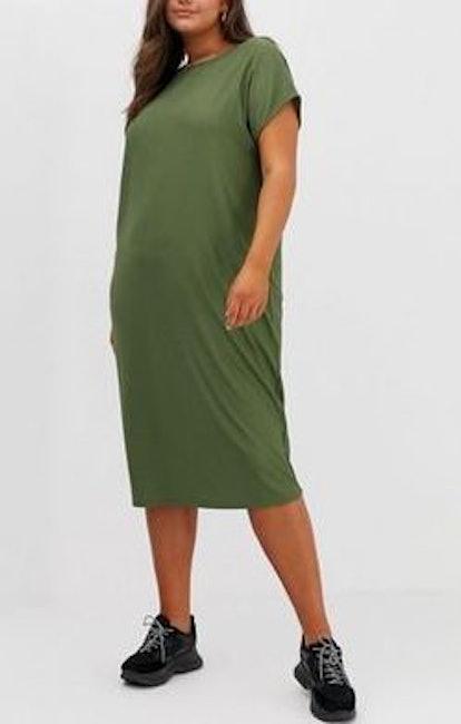Rib Oversized Midi T-Shirt Dress