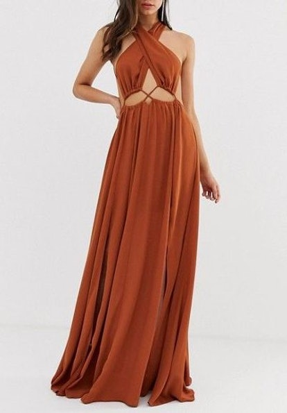 Maxi Dress With Cross Neck And Cut Out Waist Detail