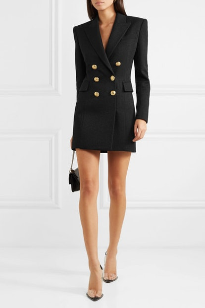 Button-Embellished Metallic Wool-Blend Mini Dress