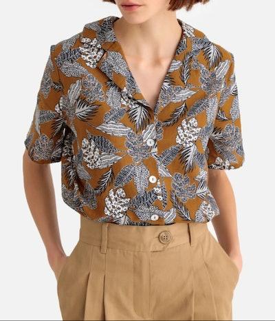 Linen Mix Floral Hawaiian Print Shirt