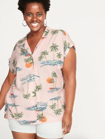 Printed Slub-Weave Plus-Size No-Peek Getaway Shirt