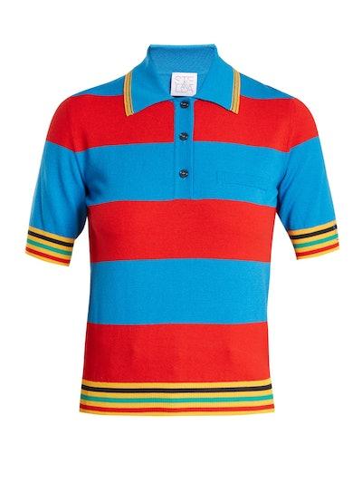 Striped Polo Knit Shirt