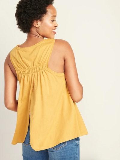 Sleeveless Shirred-Back Swing Top for Women