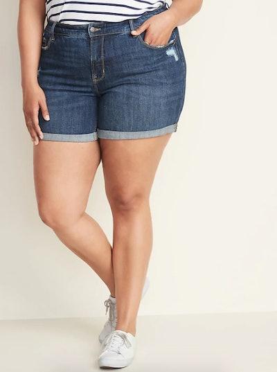 High-Rise Secret-Slim Pockets Plus-Size Distressed Denim Shorts - 5-inch inseam