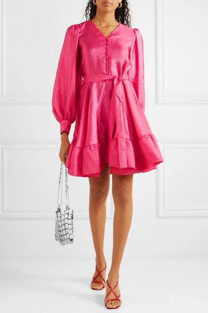 Farrow Ruffled Crinkled-Taffeta Mini Dress