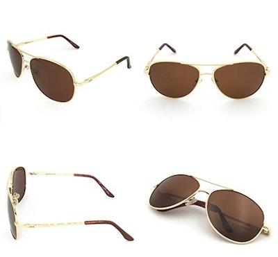 J&S Premium Military Style Classic Aviator Sunglasses