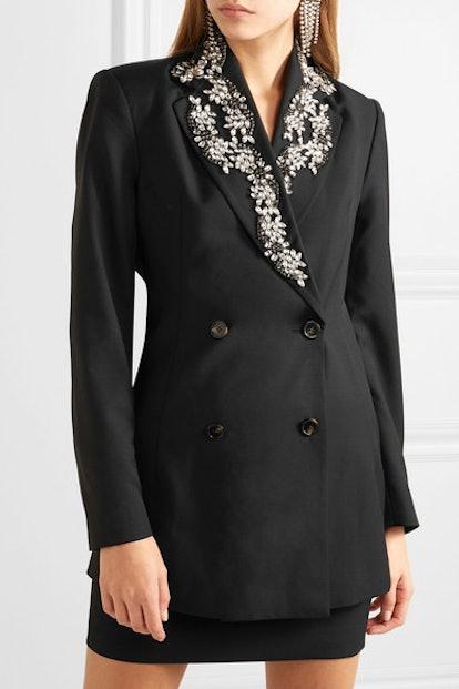 Crystal-Embellished Wool-Blend Gabardine Blazer