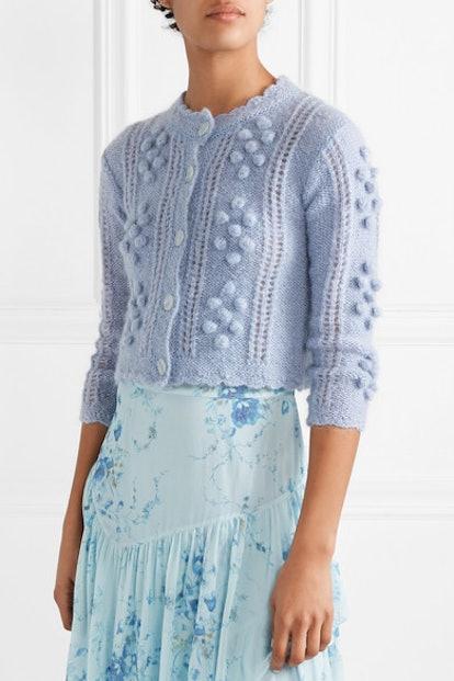 Gigi Cropped Pompom-Embellished Mohair-Blend Cardigan
