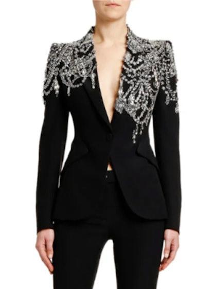 Crystal-Embellished Jersey Blazer Jacket