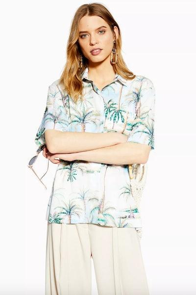 Hawaiian Print Bowler Shirt