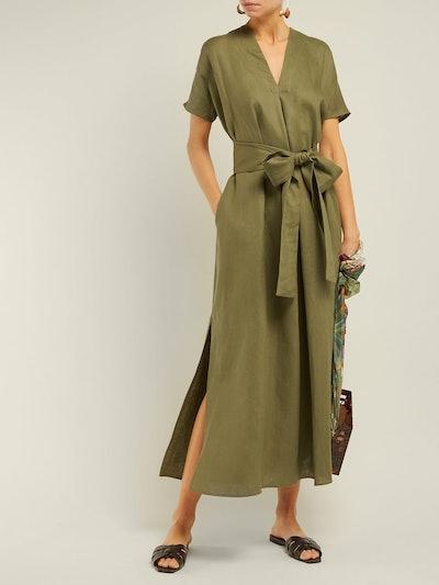 Rosetta V-Neck Linen Midi Dress