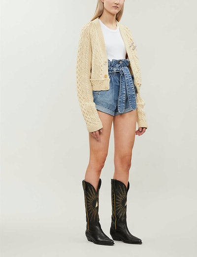 Cropped Chunky-Knit Wool Cardigan