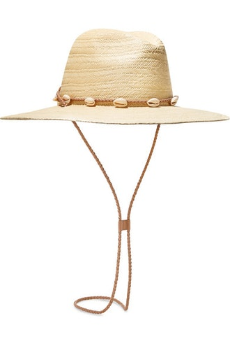 Embellished Leather-Trimmed Straw Sunhat