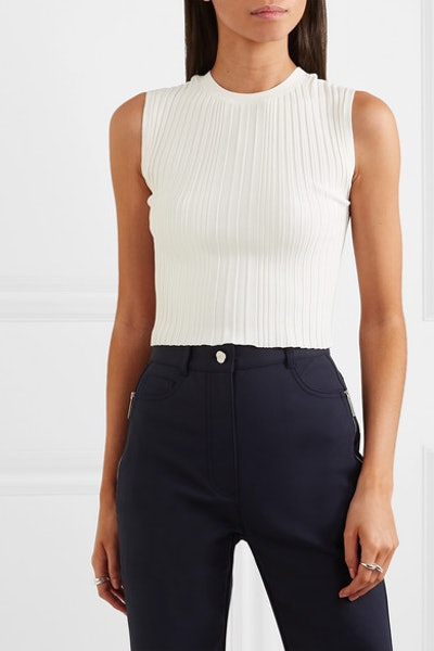 Cropped Ribbed-Knit Tank