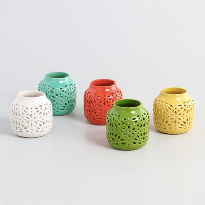 Ceramic Cutout Hurricane Candleholder