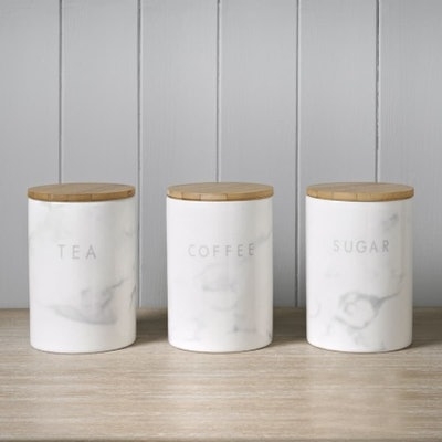 Marble Effect Kitchen Canisters