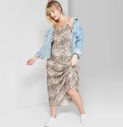 Strappy Tie Front Midi Slip Dress