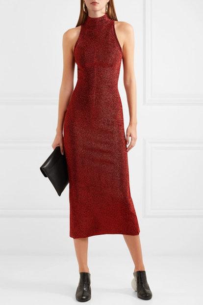 Stretch-Lurex Midi Dress