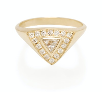 14k Pave and Diamond Trillion Ring