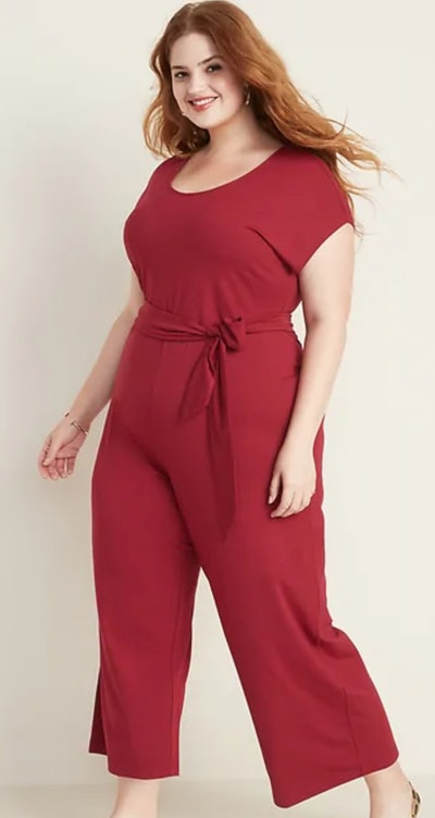 Jersey Tie-Belt Wide-Leg Plus-Size Jumpsuit