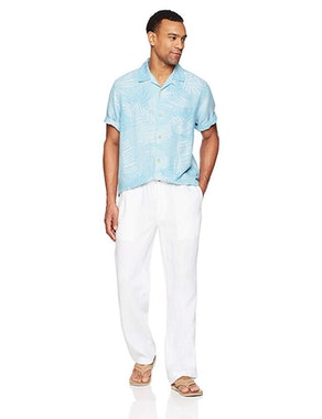 28 Palms Men's Relaxed-Fit Linen Pants With Drawstring