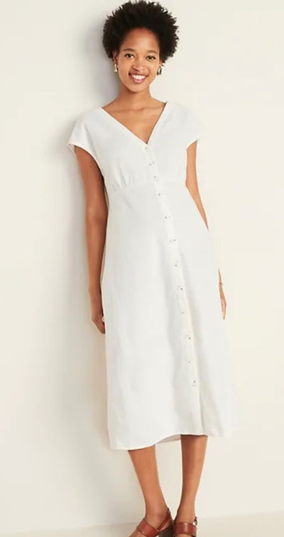Button-Front V-Neck Linen-Blend Midi
